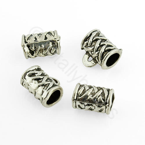 Tibetan Silver Bead - Bail Tube 10x7mm