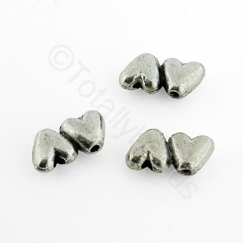 Antique Silver Metal Bead - Hearts 11x6mm 30pcs - H463