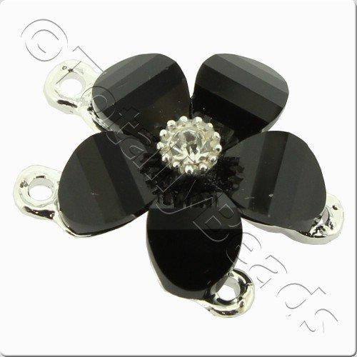 Silver Metal Black Flower Connector 20mm