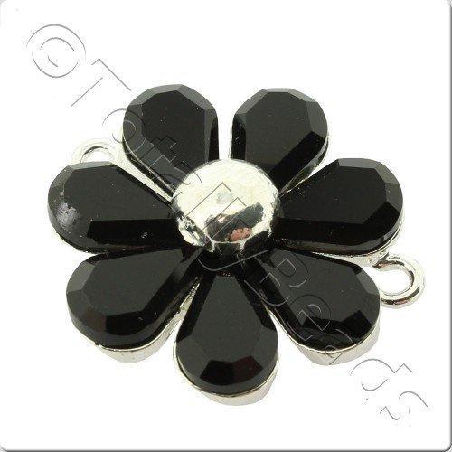 Silver Metal 7 Petal Black Crystal Flower 30mm