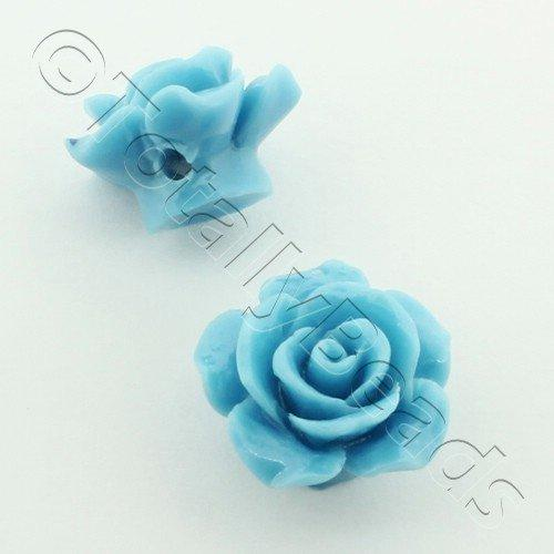 Acrylic Rose 15mm 1 Sky Blue 4 pcs