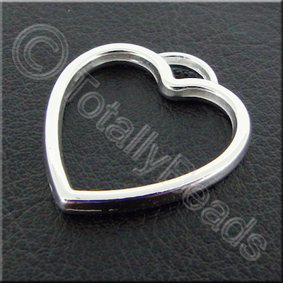 Metalised Acrylic Hollow Heart Charm - 24mm - Silver