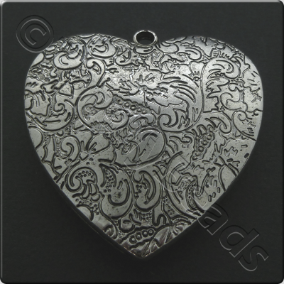 Metalised Antique Silver Heart 48x50x8mm