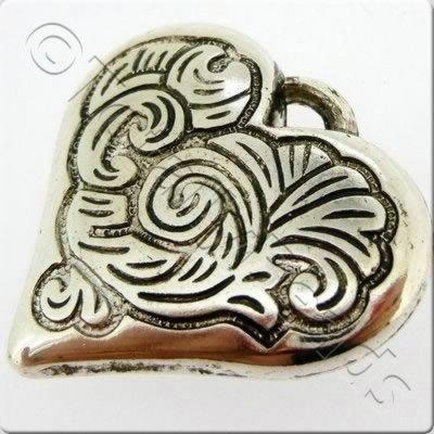 Acrylic Antique Silver Charm - Heart 34mm
