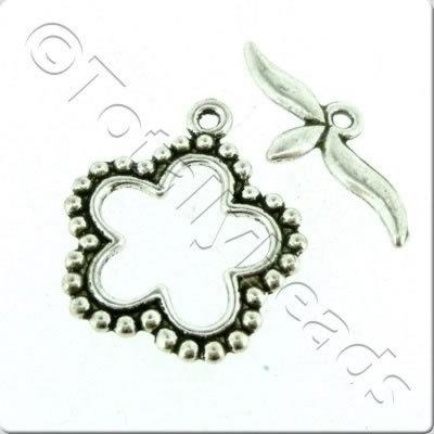 Tibetan Silver Toggle - Spotty Flower