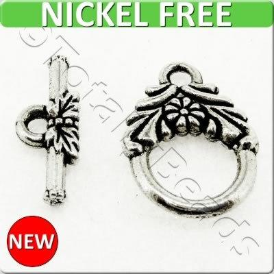 Antique Silver Metal Toggle - Flower Ring 12mm 8 sets - A16927