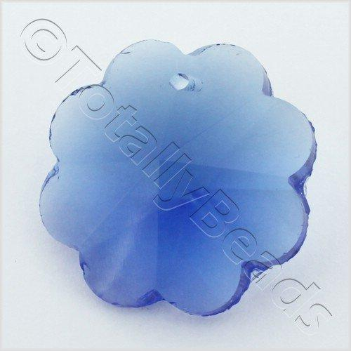 Glass Pendant 8 Petal flower 25mm - Blue