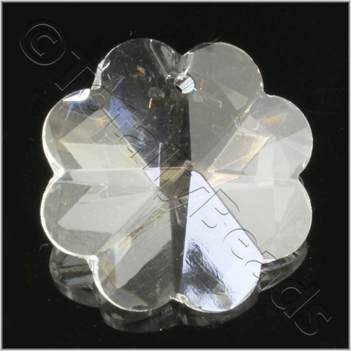 Glass Pendant 8 Petal Flower 28mm - Clear