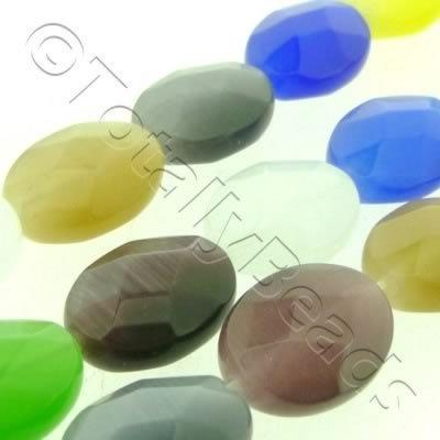 Cats Eye Bead - Facet Oval 12x16mm - Mixed