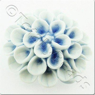 Ceramic Pendant - Flower - White&Blue