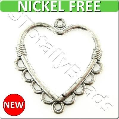 Antique Silver Metal Connector - Heart 27x31mm 12pcs - K1045