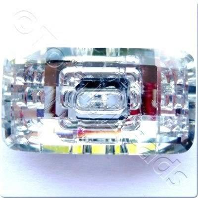 Crystal Button - Rectangle 30mm - Silver Clear