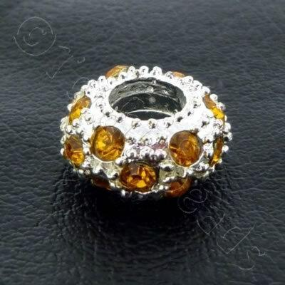 Diamante Large Hole Rondelle Spacer - 11x6mm - Amber