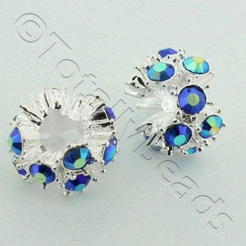 Large Hole Rhinestone Spacer 12mm - Blue AB