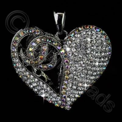 Diamante Pendant - Filigree Heart - Crystal & AB
