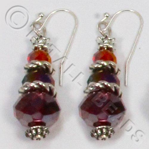 Christmas Tree Earrings - Ruby Red