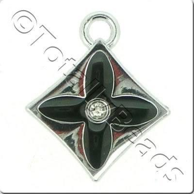 Enamel Charm - Diamond - Black