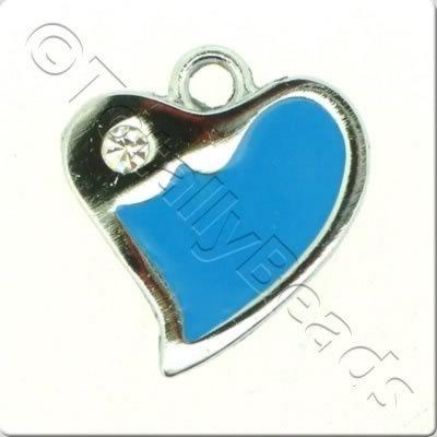 Enamal Charm - Fluted Heart - Blue