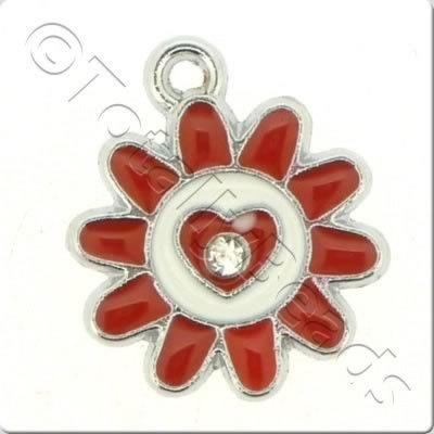 Enamel Charm - Sunflower - Red