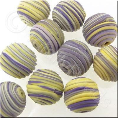 Fimo Candy Stripe Round Bead - Easter