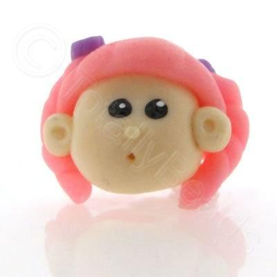 Fimo Doll Bead - Girl Pink Hair