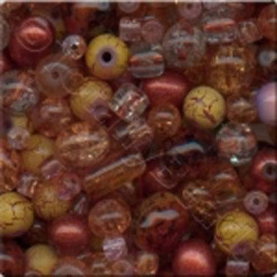 Mixed Glass Beads - Copper - Tube