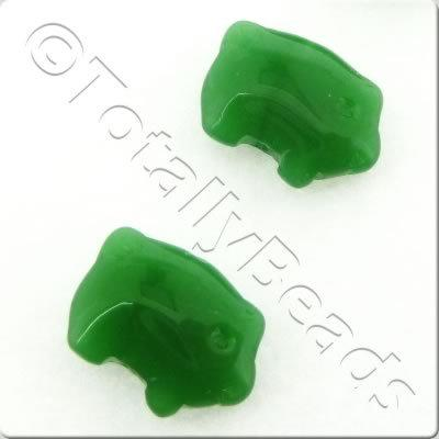 Glass Pig - 14mm - Opaque Green - 19pcs
