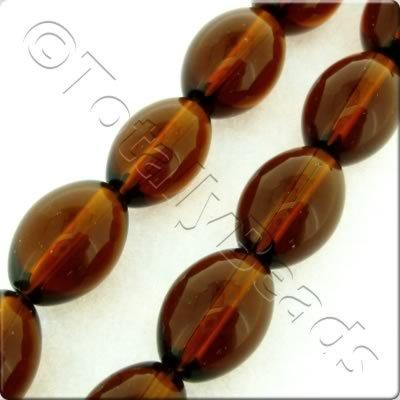 Glass Oval - 16x12mm - Dark Brown - 21pcs
