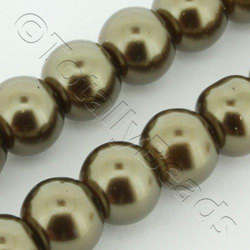 Glass Pearl Round 8mm Khaki Grade B