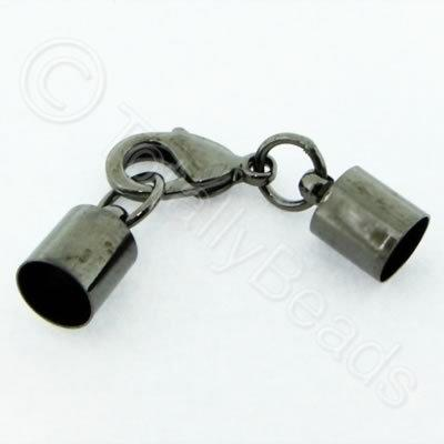 Kumihimo 7mm Barrel Lobster Clasp Black - 2 sets