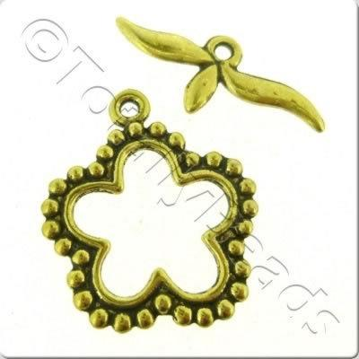 Tibetan Gold Toggle - Spotty Flower
