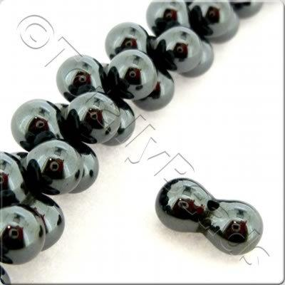 Hematite - Peanut and Peanut 12x6mm 44pcs