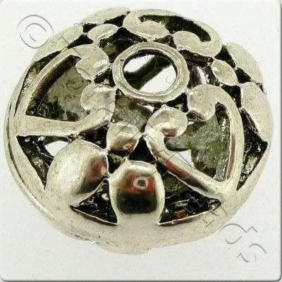 Tibetan Silver Bead - Hollow Disc 15mm