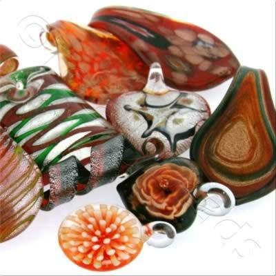 Lampwork Pendant Mix - Red
