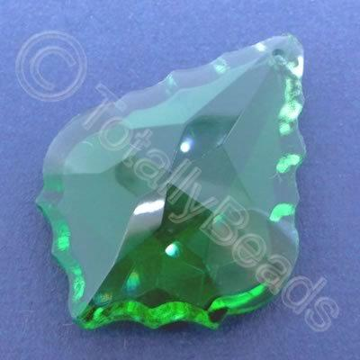 Glass Pendant Leaf Drop Green - 50mm