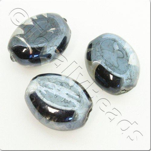 Lampwork Glass Bead Oval 22mm - Black Swirl Luster