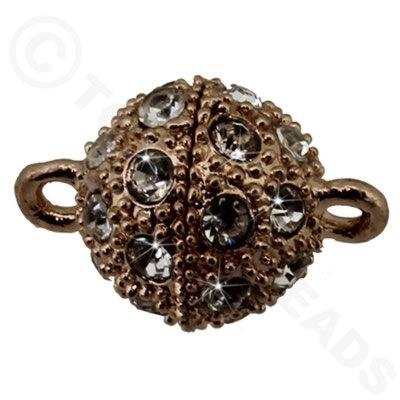 Magnetic Clasp Spotted Round 12mm Crystals - Rose Gold
