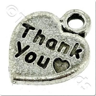 Tibetan Silver Charm - Thank You Heart