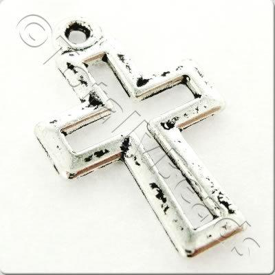 Tibetan Silver Charm - Small Cross - Antique Silver