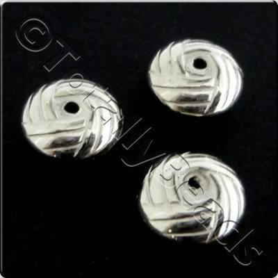 Metalised Acrylic Bead Hatch Rondelle 10x5mm - Ant. Silver 60pcs