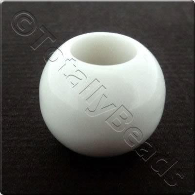 Acrylic Large Hole Bead - White