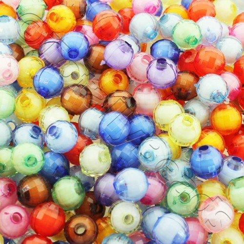 Acrylic Facet Round 8mm White Core Beads 150pc