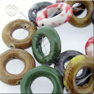 Ceramic Beads - Doughnut 28mm- Mixed