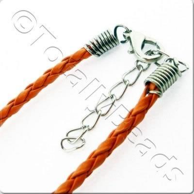 Tight Plaited Leather Cord - Orange