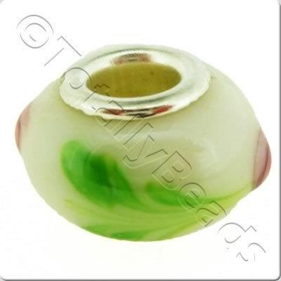 Large Hole Ceramic Bead - Rose White