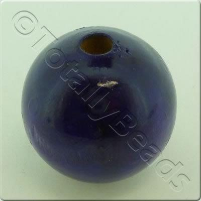Wooden Bead - Round 24mm Purple