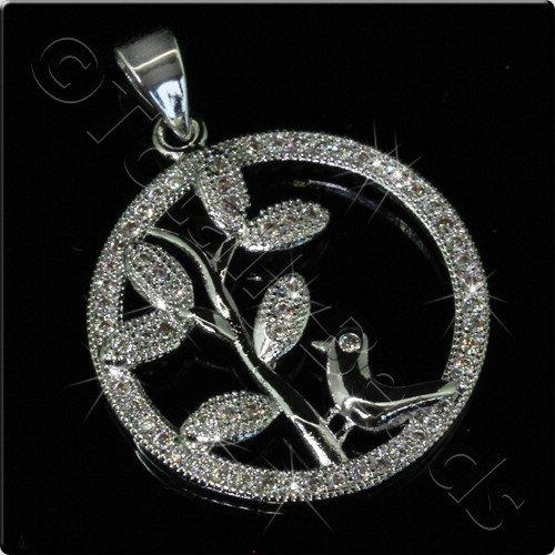 Pave Crystal Pendant - Silver Bird Branch