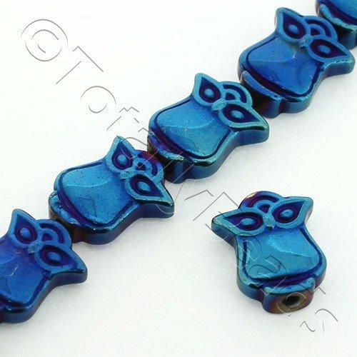 Hematite Owl Bead 8x10mm Blue Plated