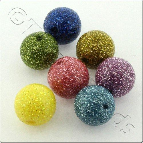 Resin Glitter Round 10mm Bead - Mixed 10pcs