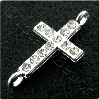 Rhinestone Connector - Cross - 20x10mm - Silver and Crystal